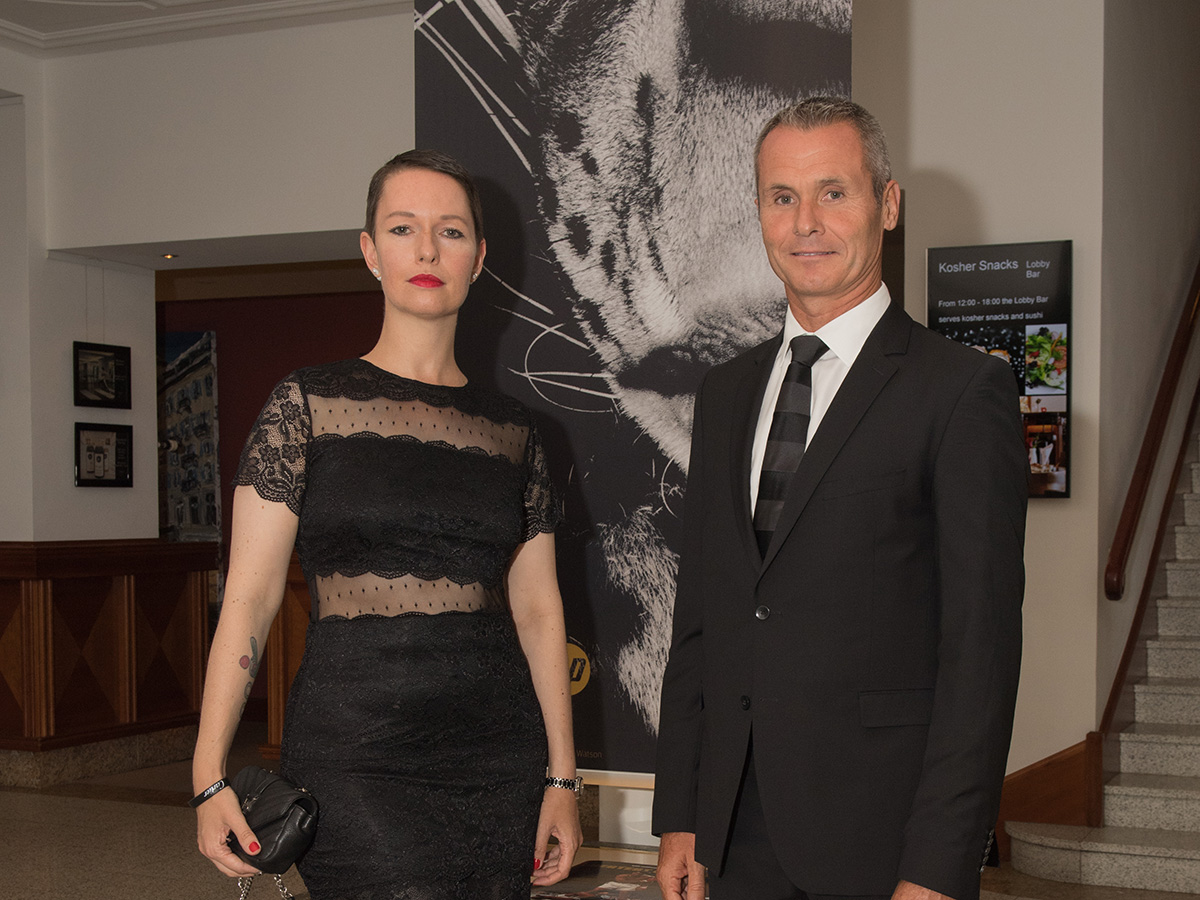 With Cartier's marketing manager during the St.-Moritz Art Masters